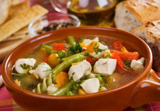 Traditional homemade soup with chicken meat and vegetable