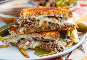 Slow Cooker Roast Beef Philly Cheese Steak French Dip Grilled Cheese Sandwich 800 9088